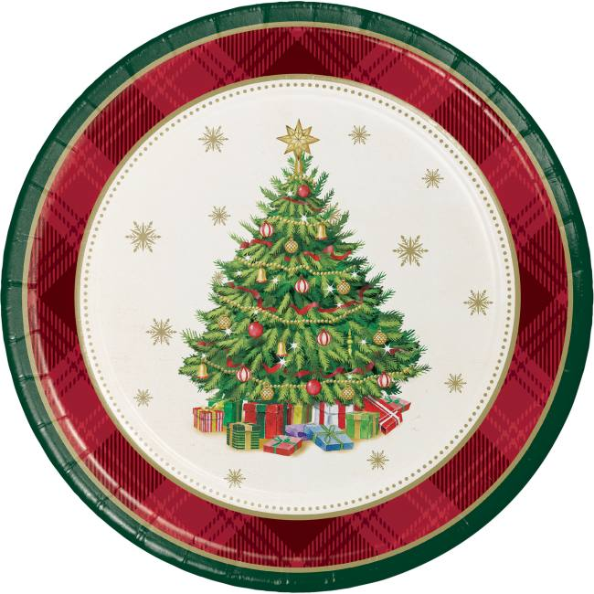 christmas tree traditions 7 inch plates - Christmas Plastic Plates