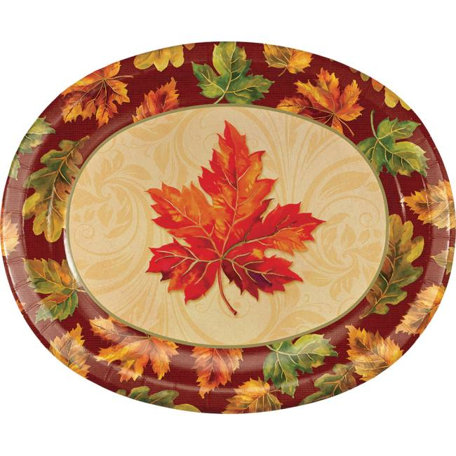 Fall Flourish 12-inch Oval Plates: Party At Lewis Elegant