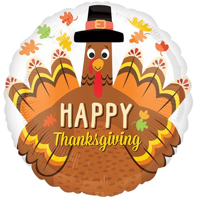 Happy Thanksgiving Pilgrim Turkey Foil Balloon Party At