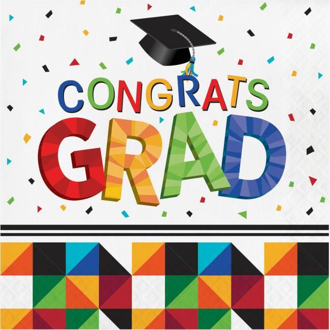 School Bus Yellow Congrats Grad Graduation Paper Lunch Napkins 36 per Pack