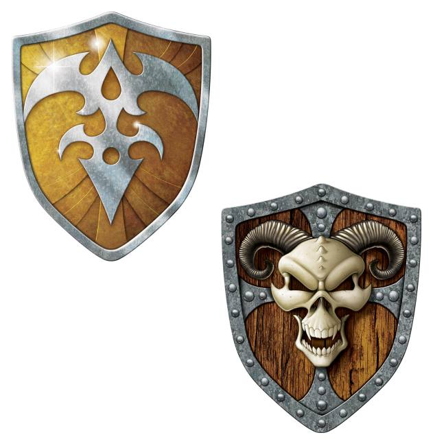 Shield Crest Hanging Party Decorations 12 Piece Medieval Knights Whirls