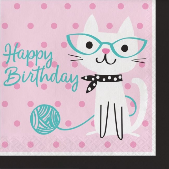 Purr Fect Kitty Cat Party Happy Birthday Lunch Napkins At Lewis Elegant Supplies Plastic Dinnerware Paper Plates And