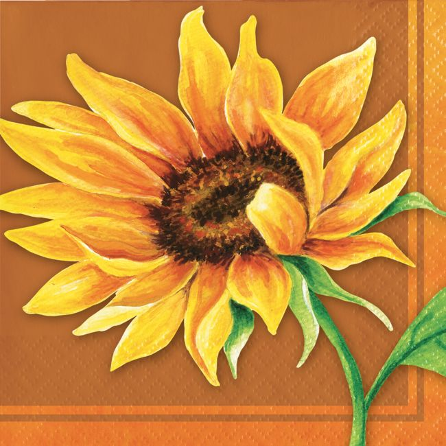 Fall Sunflower Beverage Napkins Party At Lewis Elegant