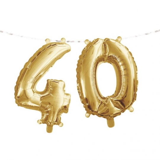 Gold 40th Birthday Balloon Banner Party At Lewis Elegant Supplies Plastic Dinnerware Paper Plates And Napkins