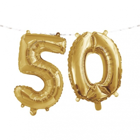 Gold 50th Birthday Balloon Banner Party At Lewis Elegant Supplies Plastic Dinnerware Paper Plates And Napkins