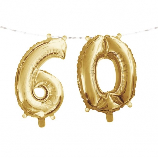 Gold 60th Birthday Balloon Banner Party At Lewis Elegant Supplies Plastic Dinnerware Paper Plates And Napkins