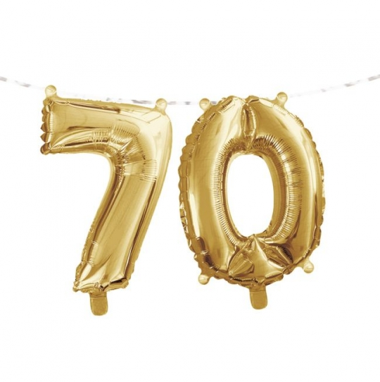 Gold 70th Birthday Balloon Banner Party At Lewis Elegant Supplies Plastic Dinnerware Paper Plates And Napkins