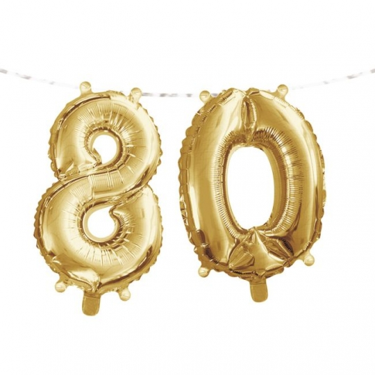 Gold 80th Birthday Balloon Banner Party At Lewis Elegant Supplies Plastic Dinnerware Paper Plates And Napkins