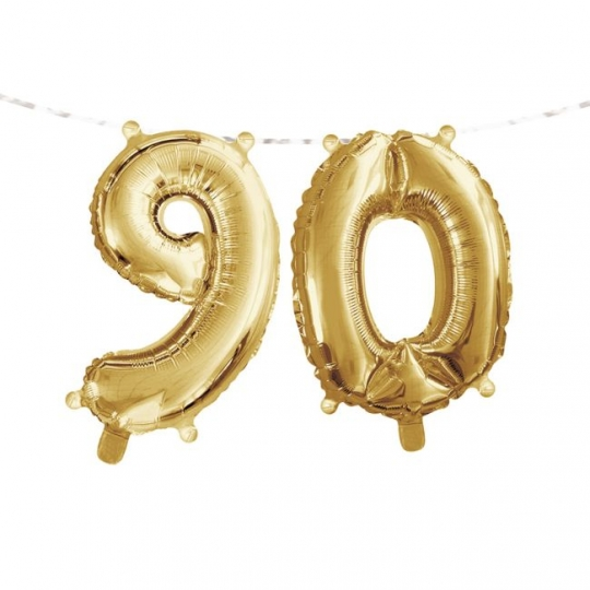 Gold 90th Birthday Balloon Banner Party At Lewis Elegant Supplies Plastic Dinnerware Paper Plates And Napkins