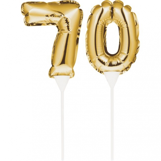 Gold 70th Birthday Balloon Cake Topper