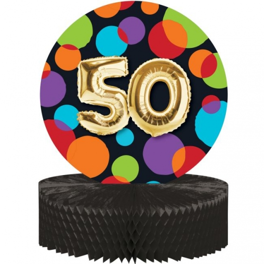 Gold Balloon Birthday 50th Honeycomb Centerpiece Party At Lewis Elegant Supplies Plastic Dinnerware Paper Plates And Napkins