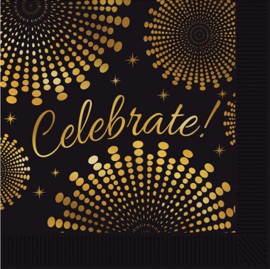 Celebrate Black And Gold Beverage Napkins Party At Lewis Elegant Supplies Plastic Dinnerware Paper Plates