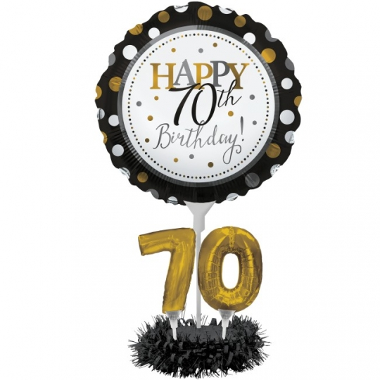 MALE AGE 70 FOIL BALLOON DISPLAY -TABLE CENTREPIECE-BANNER 70th BIRTHDAY