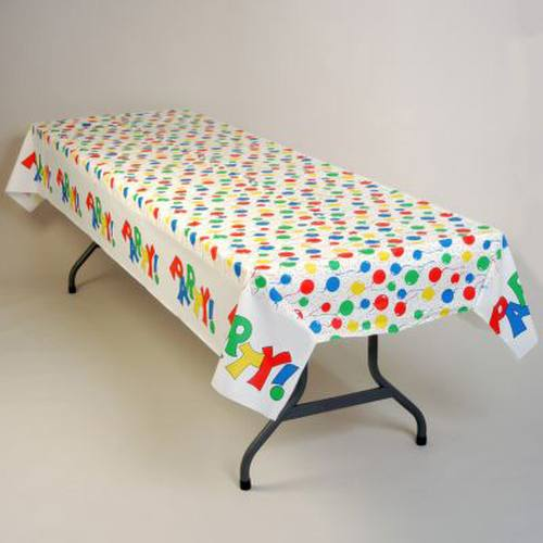 Birthday Balloons Banquet Table Cover 100 Ft Roll
