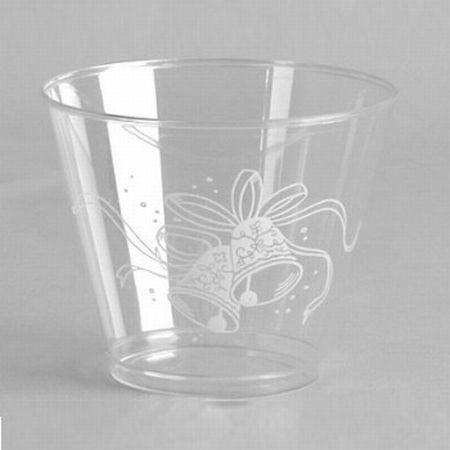 Wedding Bells 9 Oz Plastic Cocktail Squat Glasses