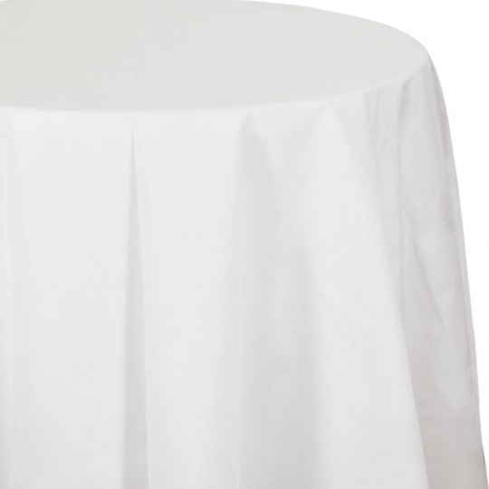 Better Than Linen White 82 Inch Round Tablecloth