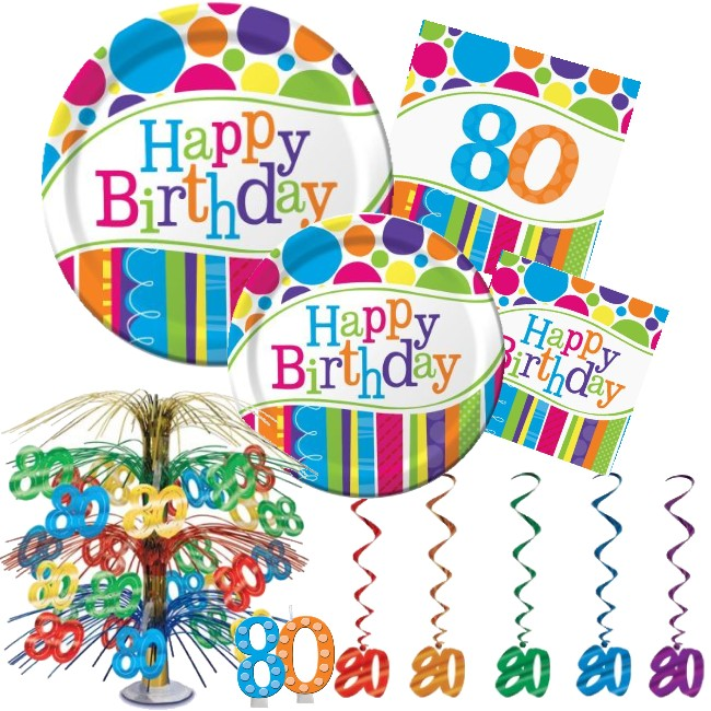 Bright Bold 80th Birthday Party At Lewis Elegant Party Supplies