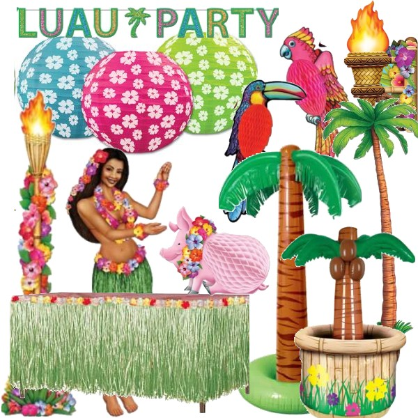 Hawaiian Luau Party Sunset Stripes 12 Inch Oval Paper Plates 8 Pack