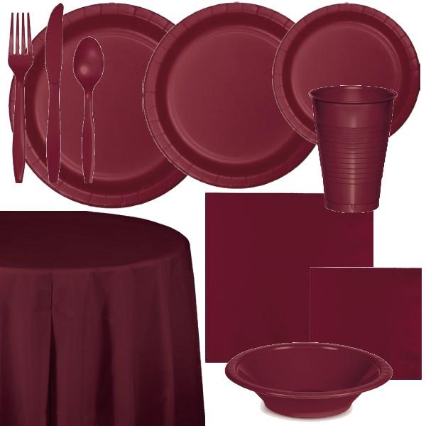 Burgundy Paper and Plastic Dinnerware & Burgundy Paper and Plastic Dinnerware: Party at Lewis Elegant Party ...