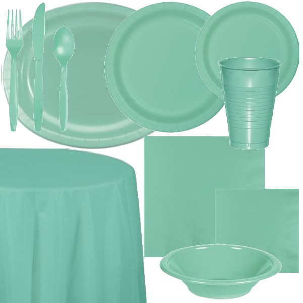 """Mint Green 10/"""" Paper Plates 24 Per Pack Study Style Poly Coated"""