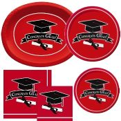 Red Graduation party supplies and decorations