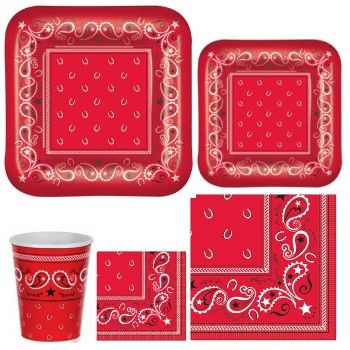Shop for Bandana  sc 1 st  Party at Lewis & Bandana Paper Plates and Napkins - Party at Lewis
