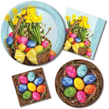 Beautiful Basket Paper Plates & Napkins
