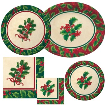 Boughs of Holly Paper Plates & Napkins