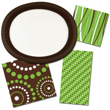 Brown and Lime Green Coordinates Paper Plates & Napkins