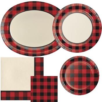 Plaid paper plates