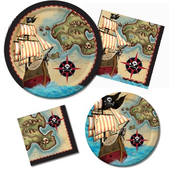 Pirate's Map Paper Plates & Napkins