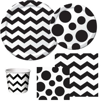 Chevron and Dots Black  sc 1 st  Party at Lewis : black and white chevron paper plates - pezcame.com