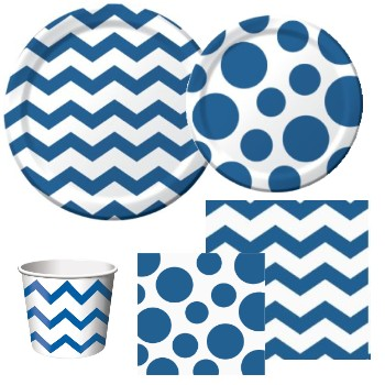 Chevron and Dots Blue
