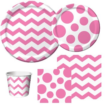 Chevron and Dots Candy Pink