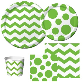 Chevron and Dots Lime Green
