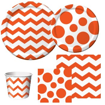 Chevron and Dots Orange  sc 1 st  Party at Lewis & Chevron and Dots Orange: Party at Lewis Elegant Party Supplies ...