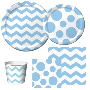 Chevron and Dots Pastel Blue