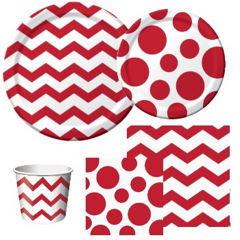 Chevron and Dots Red