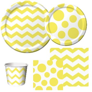 Chevron and Dots Mimosa Yellow