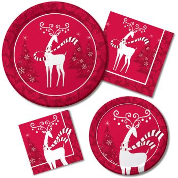 Dashing Prancer Paper Plates & Napkins