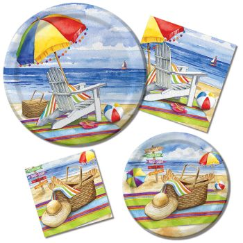 Day At The Beach Paper Plates & Napkins