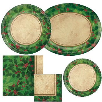 Gilded Holly Paper Plates & Napkins