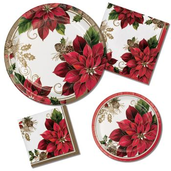 Golden Poinsettia Greenery Paper Plates & Napkins