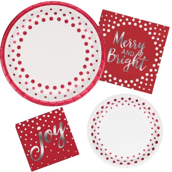 Holiday Red Sparkle & Shine Paper Plates & Napkins