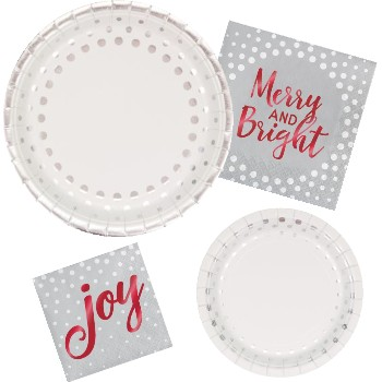 Holiday Silver Sparkle & Shine Paper Plates & Napkins