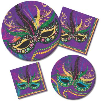 Mardi Gras Masks Paper Plates u0026 Napkins  sc 1 st  Party at Lewis & Mardi Gras Masks Paper Plates u0026 Napkins: Party at Lewis Elegant ...