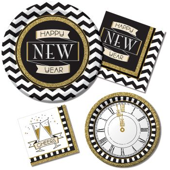 Midnight Celebration Paper Plates & Napkins