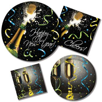 New Year Pop Paper Plates & Napkins