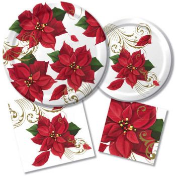 Poinsettia Breeze Paper Plates & Napkins