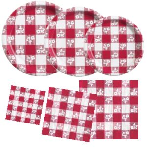 Shop for Red Gingham  sc 1 st  Party at Lewis & Red Gingham Napkins Paper Plates and Tableware - Party at Lewis